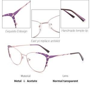 Image 3 - Metalen Brilmontuur Vrouwen Paars Mode Brillen Bril Kat Bril Frame Voor Vrouwen 2019 Nieuwe Model # TF2199C3