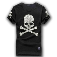 MMJ mastermind japan shining diamond rhinestone skull o neck short sleeve cotton t shirt tee white and black color