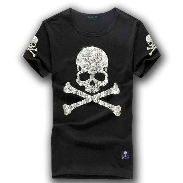 da427471561 MMJ mastermind japan shining diamond rhinestone skull o-neck short-sleeve  cotton t-shirt tee white and black color