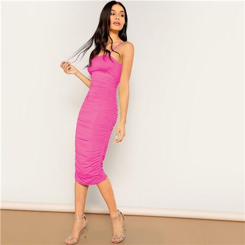 bf5d395b31e21 COLROVIE Neon Pink Ruched Slim Pencil Sexy Cami Midi Dress Women ...