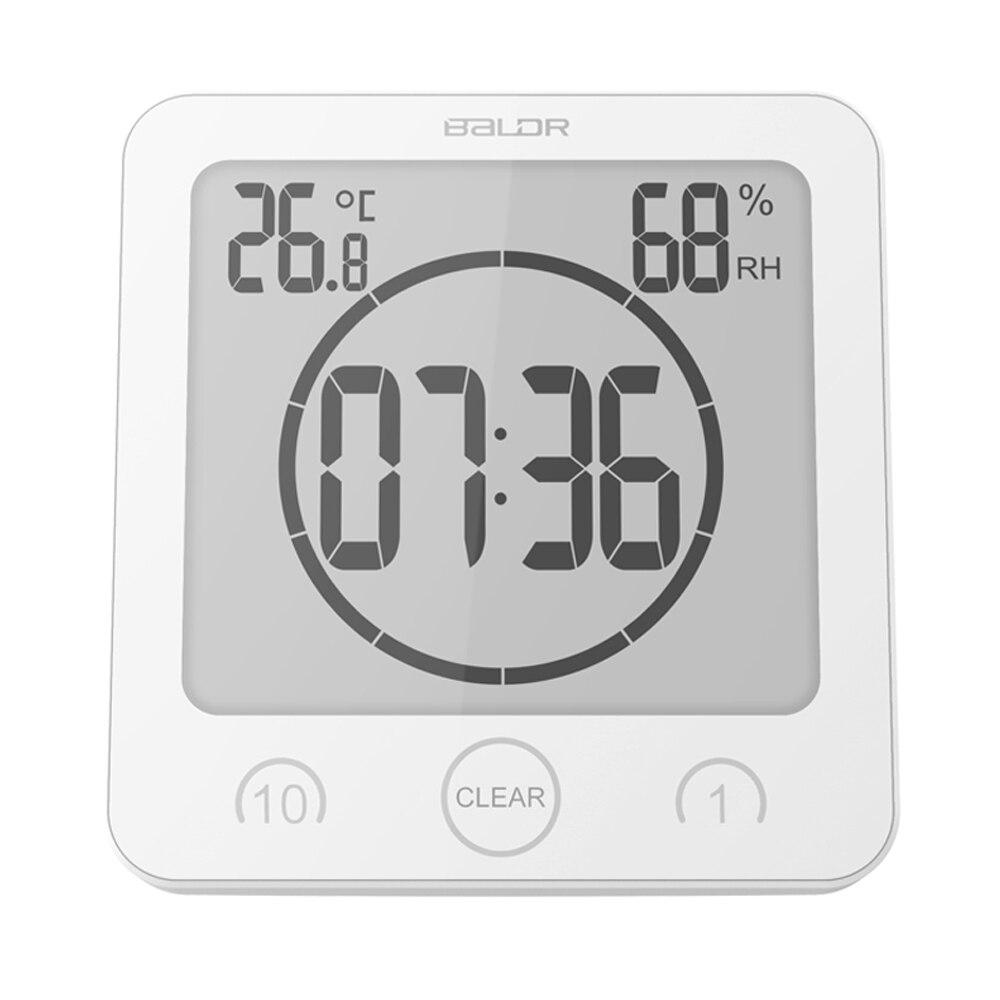 lcd digital timer clock alarm bathroom thermometer hygrometer wall