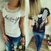 Women's T shirt Back Hollow Angel Wings T-shirt Tops Summer Style Woman Lace Short Sleeve Tops T shirts Clothing 1
