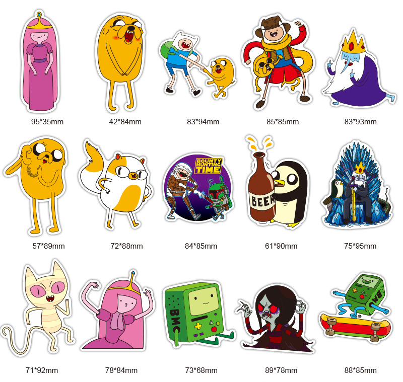 29pcs Adventure Time stickers Cartoon Pvc Waterproof Sticker For Luggage Wall Car Laptop Bicycle Motorcycle Notebook Laptop