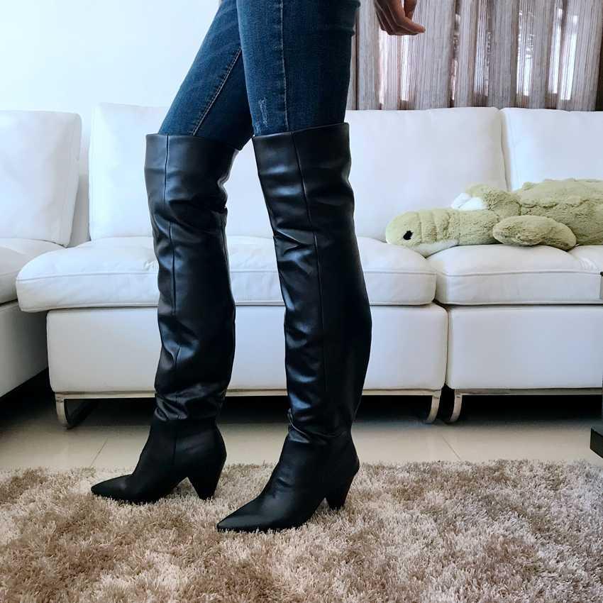 Zwart Lederen Dij Hoge Laarzen Vrouwen 9CM Hoge Hak Over De Knie Laarzen Vrouw Motorfiets Boot Sneeuw Winter Laarzen met Bont Schoen