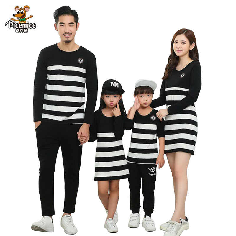 2a9d301e8fa8 Family Clothing Mother Daughter Dresses Family Matching Outfits Striped Father  Mother Girl Boy Shirts Pants Clothes