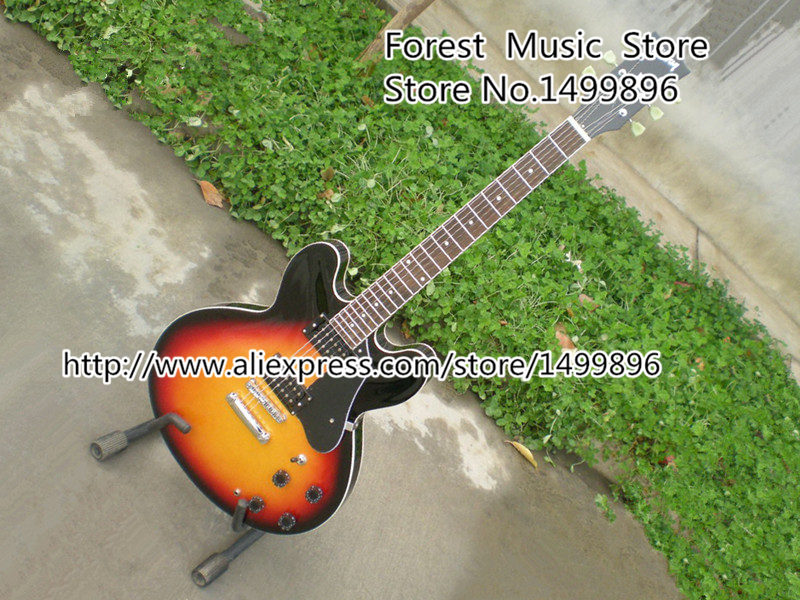 Custom Shop Vintage Sunburst Hollow Double Cut Body ES Electric Guitarra Left Handed Custom Available free ship sunset glow tiger flame es classical johnny a signature hollow body electric guitar china custom available