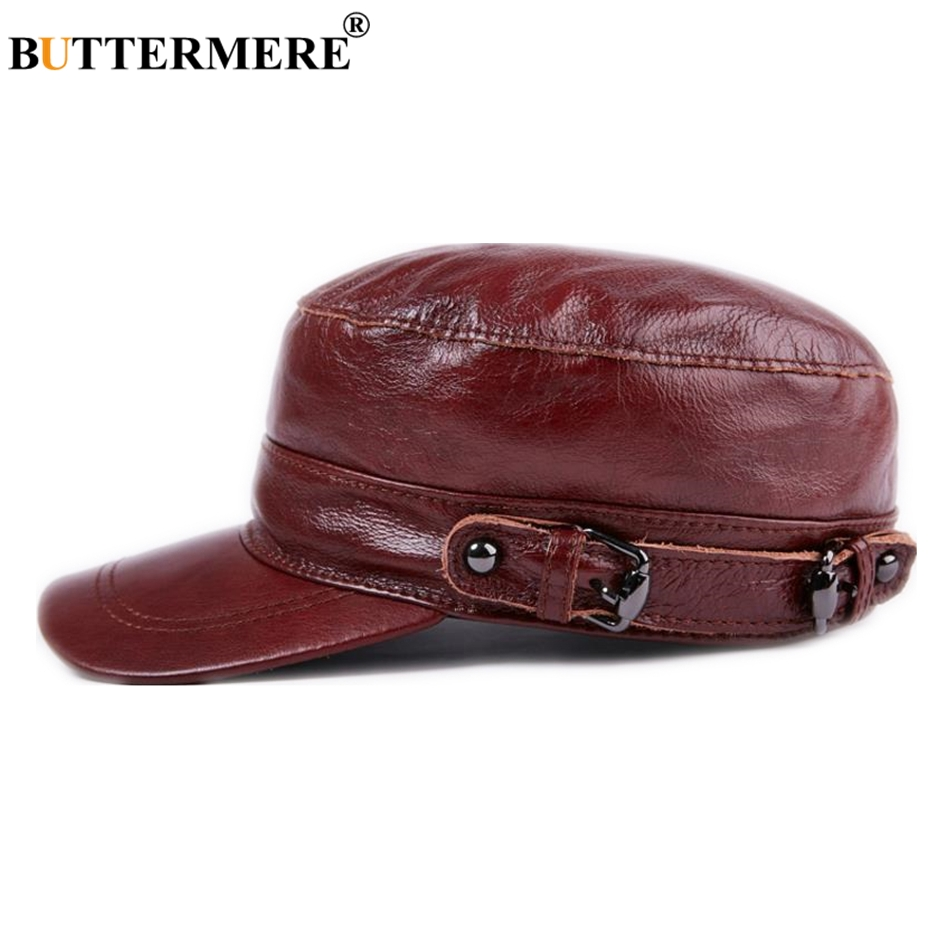 3e37e59b BUTTERMERE Genuine Leather Military Hat Red Women Men Unisex Army Cap  Spring Autumn Witer Brown Black Male Female Flat Hat