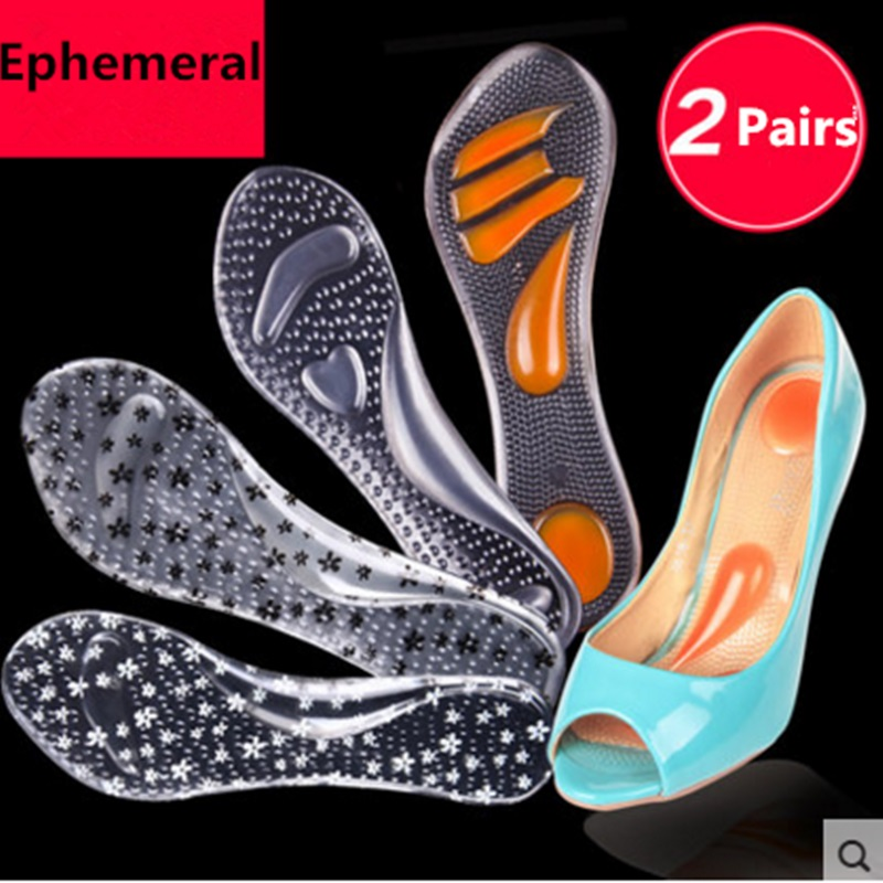 Lady silicone shoes insert orthotics high heel shoes pads massage mat non-slip cushion foot heel protector sticky Clear 2 pairs