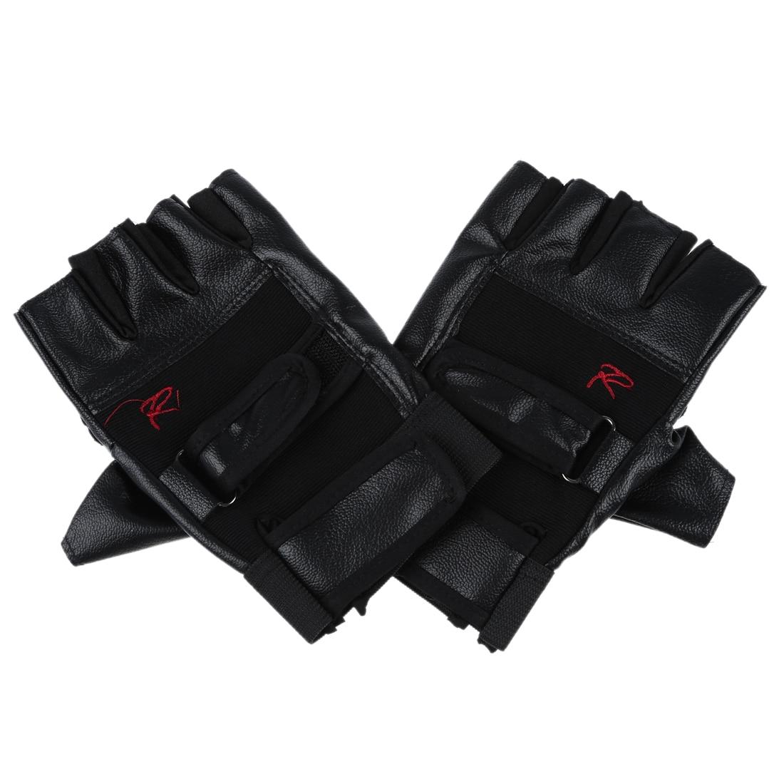 Gutes geschäft paar Chic Schwarz Brief R-förmigen Fingerlose Handschuhe Für Männer
