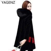 YAGENZ Winter Fur Jacket Women 2017Fashion Medium Long Loose Temperament Lady Fox Fur Hooded Jacket High