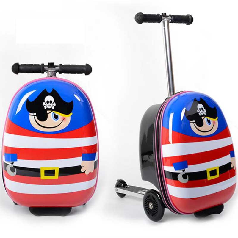 TRAVEL TALE kids scooter luggage lazy travel scooter rolling bag carry on skateboard suitcase for baby