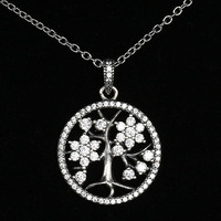 925 Sterling Silver Necklace Family Tree With Clear Cubic Zirconia Necklaces For Women Compatible With Pandora