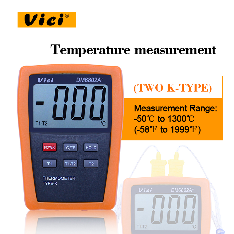 VICI DM6802A+ LCD Digital Thermometer Temperature Meter dual channel K-Type Thermocouple Probes Measuring -50-1300 Degree mastech ms6514 dual channel digital thermometer temperature logger tester usb interface 1000 set data k j t e r s n thermocouple