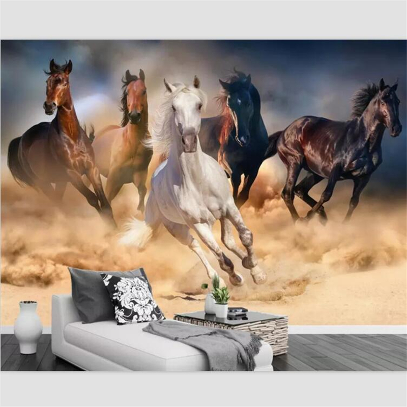 Beibehang Wallpaper Custom Living Room Murals Pentium Horse TV Background Wall Horse To Success Living Room Sofa Background
