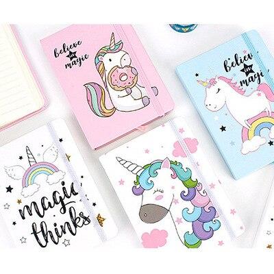 2019 New 1pc Cartoon Unicorn A7 Hard Cover Kawaii Planner Pupils