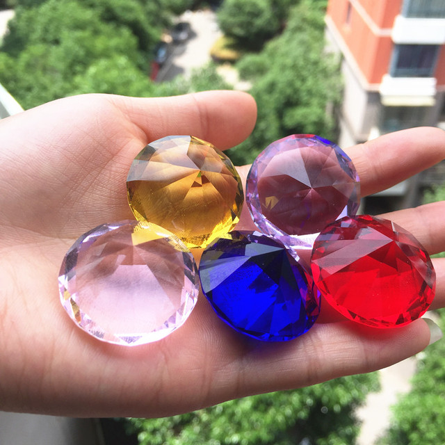 30mm Crystal glass Diamond Home Decor  ornaments FengShui Ornaments Decorative Ball For wedding miniatures Accessories Gifts 3