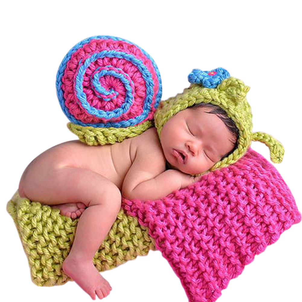 Baby Infants Snail Crochet Knitted Beanie Outfit Newborn Photography Prop Hat Kids Boys Girls Photo Prop Clothing Accessoies