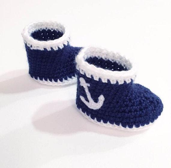 Botines de Bebé ancla Náuticos Regalo de Ganchillo Zapatos de Bebé ...