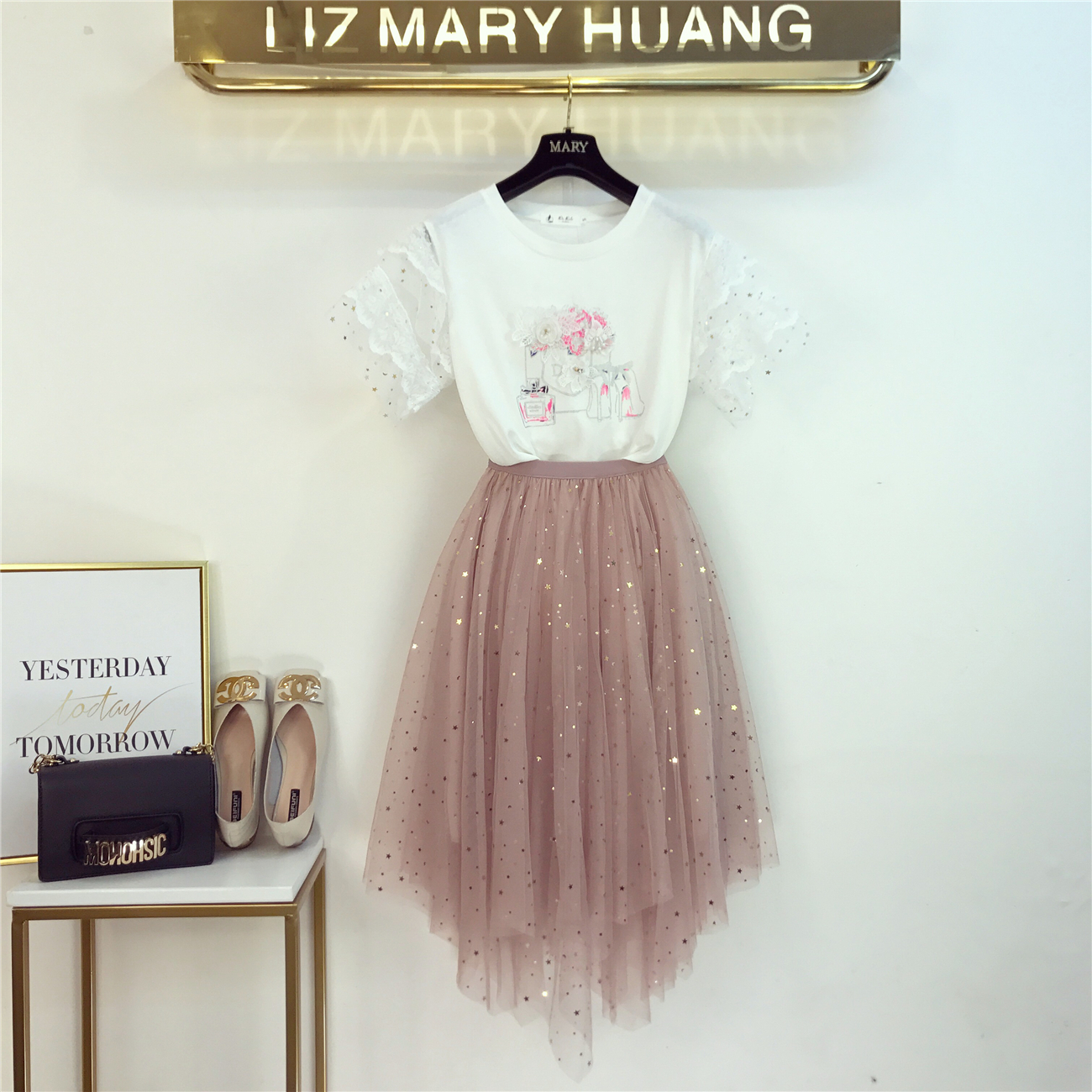 Women Two Piece Set 3D Flower Embroidery Beading T Shirts Tops + Mid-Calf Skirts Clothing Sets Luxury Sequins Mesh Skirt Suits