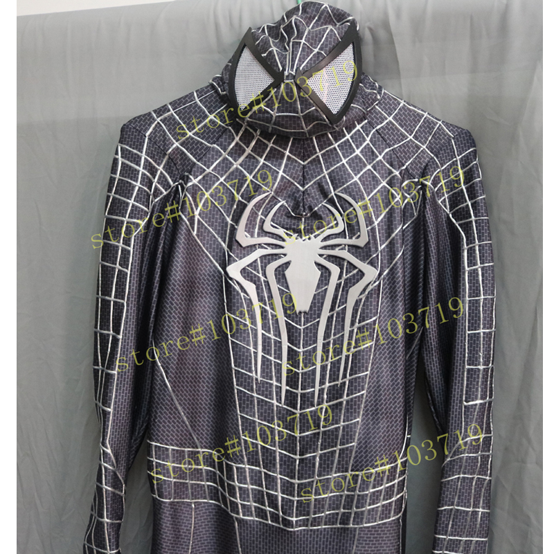 Hero Catcher High Quality Custom Made Black Spider Man Costume 3D Cobwebs Adult Spiderman Suit Black Spider Man Suit