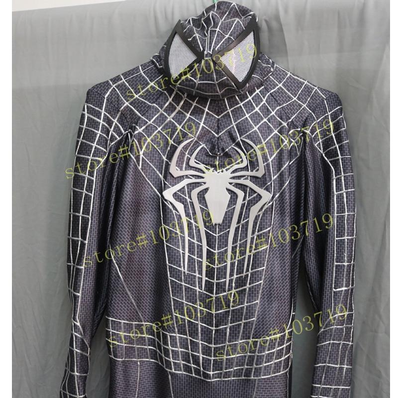 Hero Catcher High Quality Custom Made <font><b>Black</b></font> Spider Man Costume 3D Cobwebs <font><b>Adult</b></font> <font><b>Spiderman</b></font> Suit <font><b>Black</b></font> Spider Man Suit