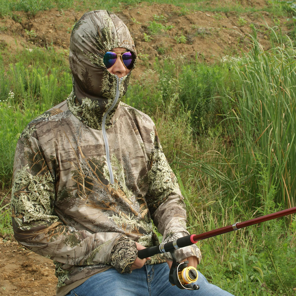 Men's Camouflage Hoodies Men Outdoor Sweatshirt Long Sleeve Hiking Shirt Grass Bionic Camouflage Hunting Fishing Shirt Hoodie jungle new outdoor men s recreational fishing hunting baseball cap bionic camouflage