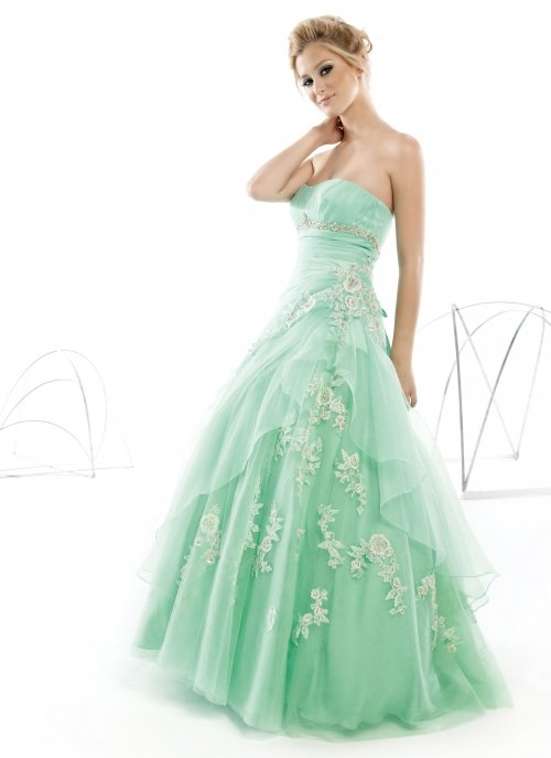 Light Green Strapless A-line Appliqued Long Evening Formal Dresses/ Prom Gowns/ Party Dresses