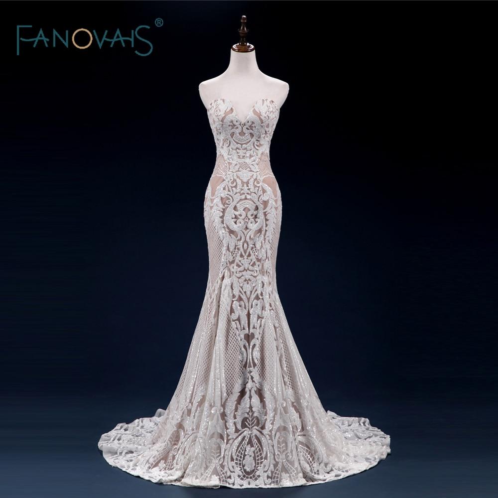 Unique Mermaid Wedding Dresses 2018 Sweetheart High Quality Sequin Lace Wedding Gown Formal Party Dress Vestido De Noiva WN30