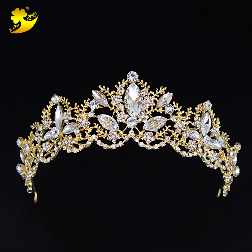 Xinyun Hot Sale Gold Wedding Crystal Crown Hair Jewelry Fashion Jewelry For Wedding Bride Women Tiaras Crown Hair Accessories