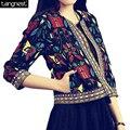 Tangnest vintage jaqueta curta mulheres 2017 tendência nacional bordado floral revestimento do outono impressão ocasional o-pescoço jaqueta curta wwj209