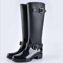 Высокие сапоги на молнии в стиле панк, Женские однотонные непромокаемые сапоги, уличная Резиновая женская обувь, большие размеры 36-41