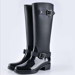 Punk Style Zipper Tall Boots Women's Pure Color Rain Boots Outdoor Rubber Water shoes For Female 36-41 Plus size