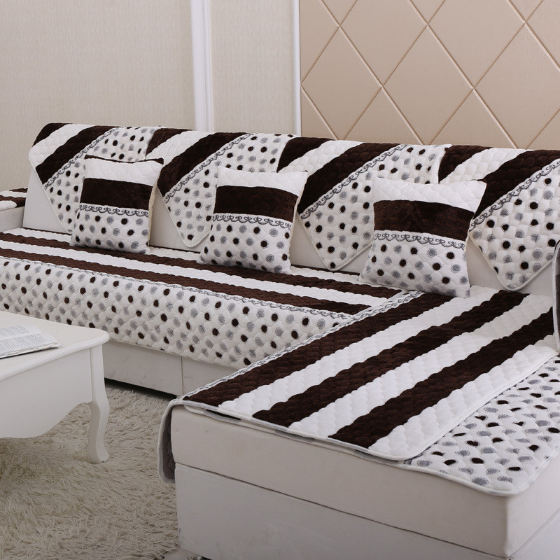 Sectional Sofa Cover Plush Sofa Set Cover Flannel Cover Canape Winter Couch  Slipcover Quilting Capa Para Sofa Settee Case Canape In Sofa Cover From  Home ...