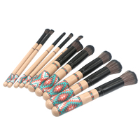 Makeup Brush New Wooden Handle Bohemian Style 10pcs Set High Quality Eye Shadow Foundation Eyebrow Lip