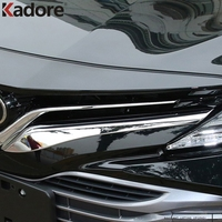 For Toyota Camry XV70 2017 2019 ABS Chrome Upper Front Grille Grill Cover Trim Molding Auto Exterior Accessories Car Sticker