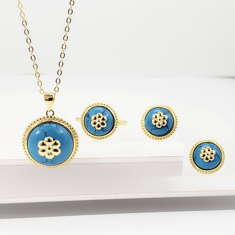 Genuine Solid s925 Silver Jewelry Set Antique For Women With Natural Red Blue Turquoise Gemstone Personalized JewelryGenuine Solid s925 Silver Jewelry Set Antique For Women With Natural Red Blue Turquoise Gemstone Personalized Jewelry