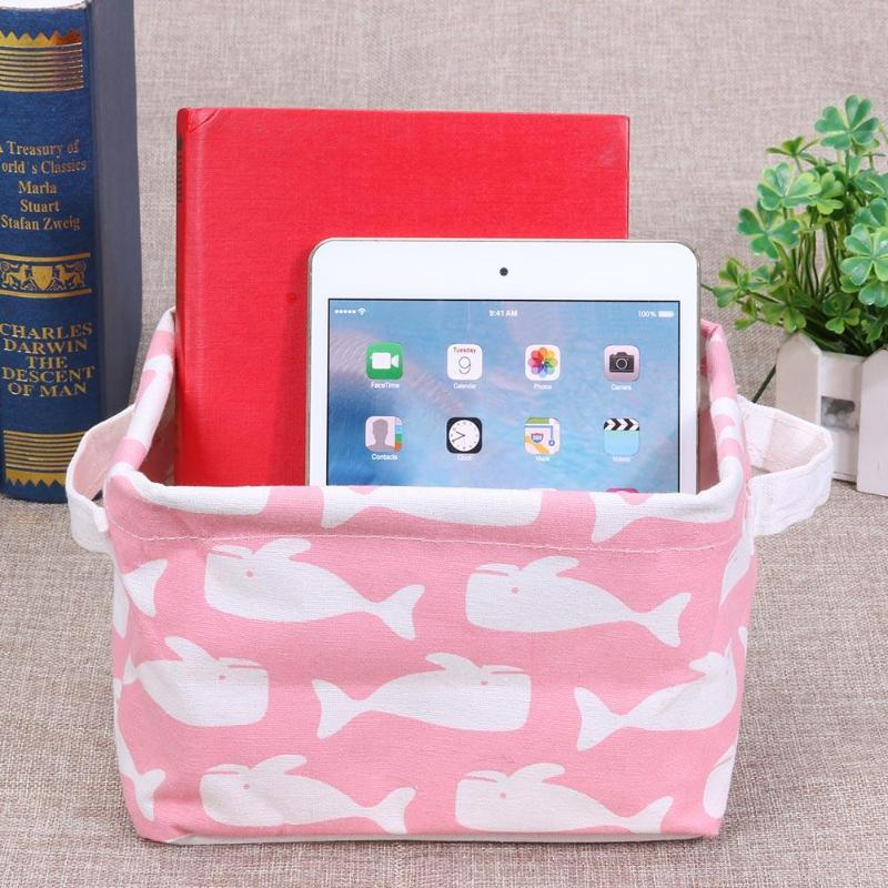 4 Pcs Styles Storage Basket Cotton Linen DIY Desktop Toy Storage Box Makeup Holder Organizer Home Debris Basket