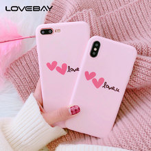 Lovebay Pink Love Heart Phone Case For iPhone 6 6s 7 8 Plus X Fashion Cute Cartoon Letter Love U Soft TPU For iPhone 8 Cover(China)