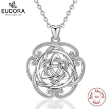EUDORA 925 Sterling Silver Luxury irish triquetra Celtics Flower Pendant Necklace For Women Birthday Gifts Fine Jewelry CYD301