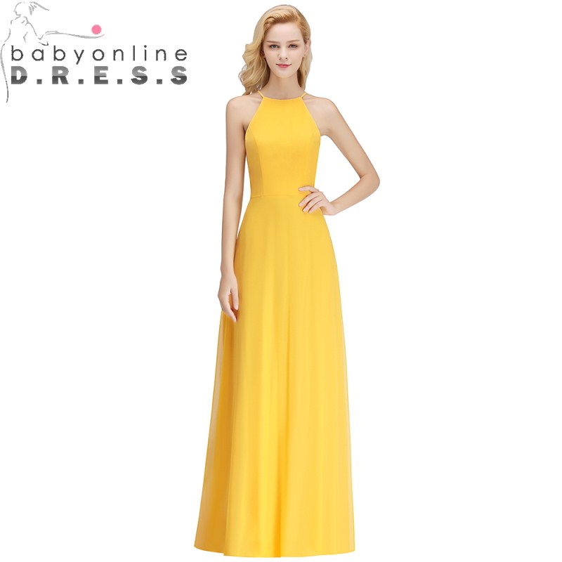 Babyonlinedress Charming Yellow Color   Bridesmaid     Dress   Sexy Halter Wedding Guest   Dress   Sleeveless Long Chiffion   Dress