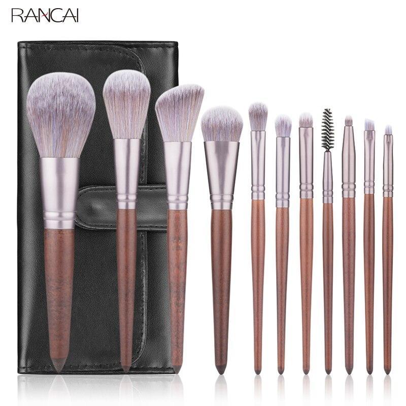 RANCAI 11 stücke Make-Up Pinsel Set Nussbaum Griff Pulver Rouge Lip Eyeliner Lidschatten Mikrokristalline silk Pinsel Schönheit Werkzeuge Kit