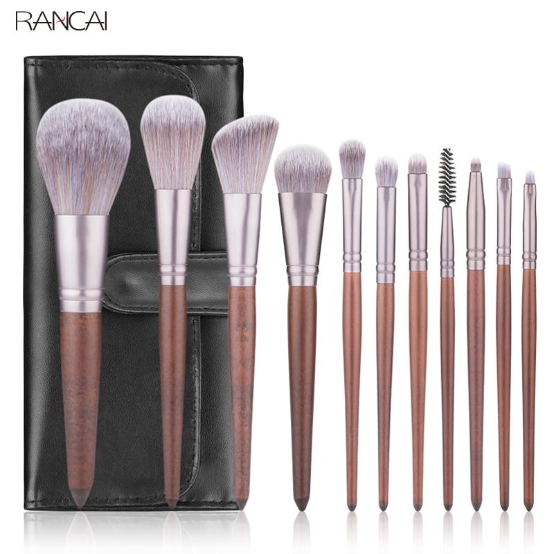 RANCAI 11pcs Makeup Brushes Set Walnut Handle Powder Blusher Lip Eyeliner Eyeshadow Microcrystalline silk Brush Beauty Tools Kit