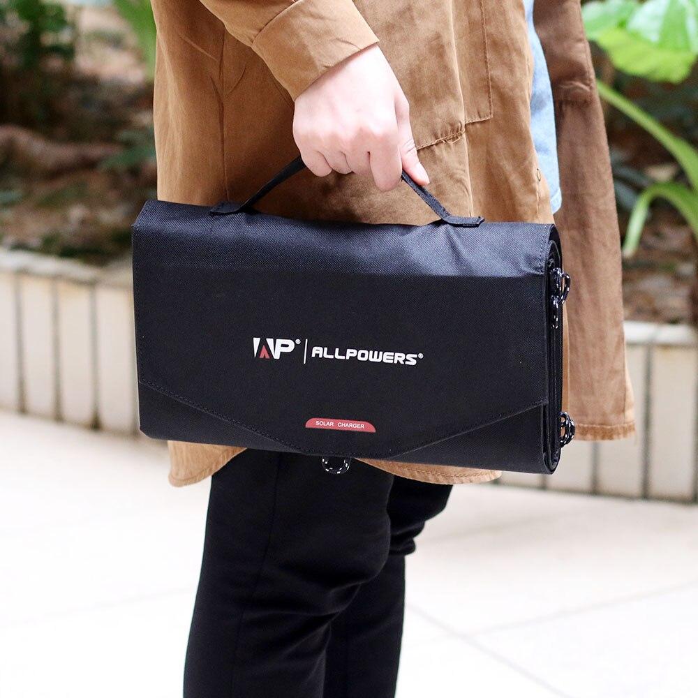 Allpowers 100 w carregador solar portátil do painel solar para a estação de energia da bateria do veículo do lg hp dell 12 v do ipad do iphone samsung. - 4