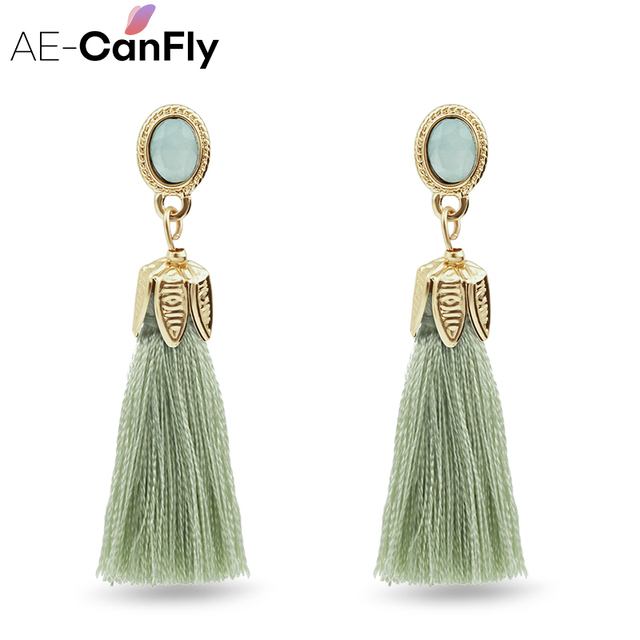 Thread Long Tassel Earrings Rhinestone Drop Statement Fringe Earrings for Women 2A4019