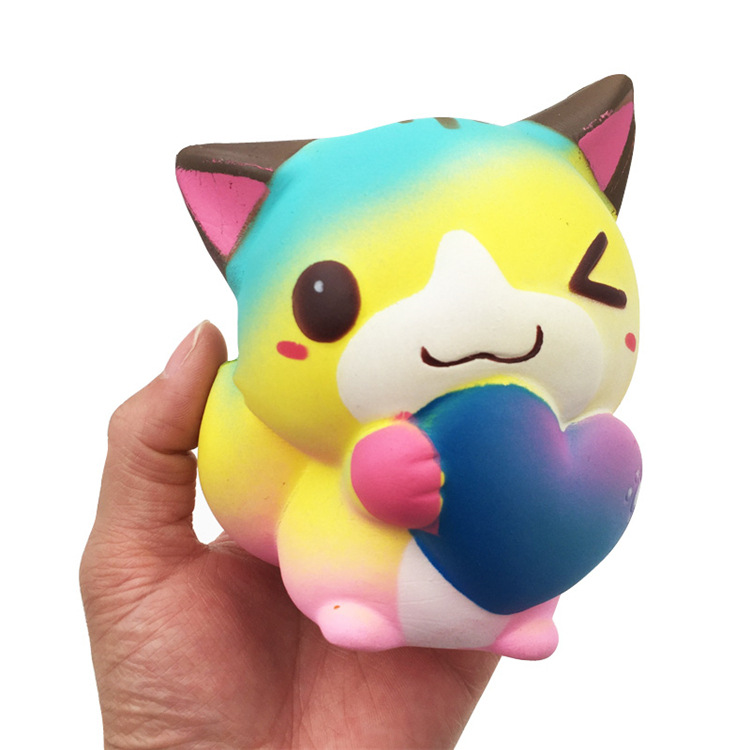 Cute funny anti stress soft Rainbow kitten Cat squishy hand squeeze slow rising the antistress toys kids toy Valentine Gift ZJD lps pet shop toys rare black little cat blue eyes animal models patrulla canina action figures kids toys gift cat free shipping