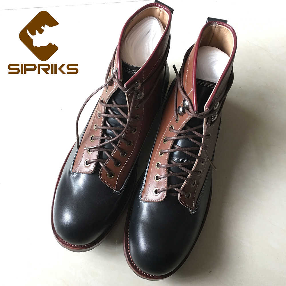 Sipriks Unique Designer ข้อเท้ารองเท้าผู้ชายสีดำ Tan รองเท้าหนังหรูหรา Besopke เย็บ Welted BOOT อเมริกันทำงาน BOSS ใหญ่