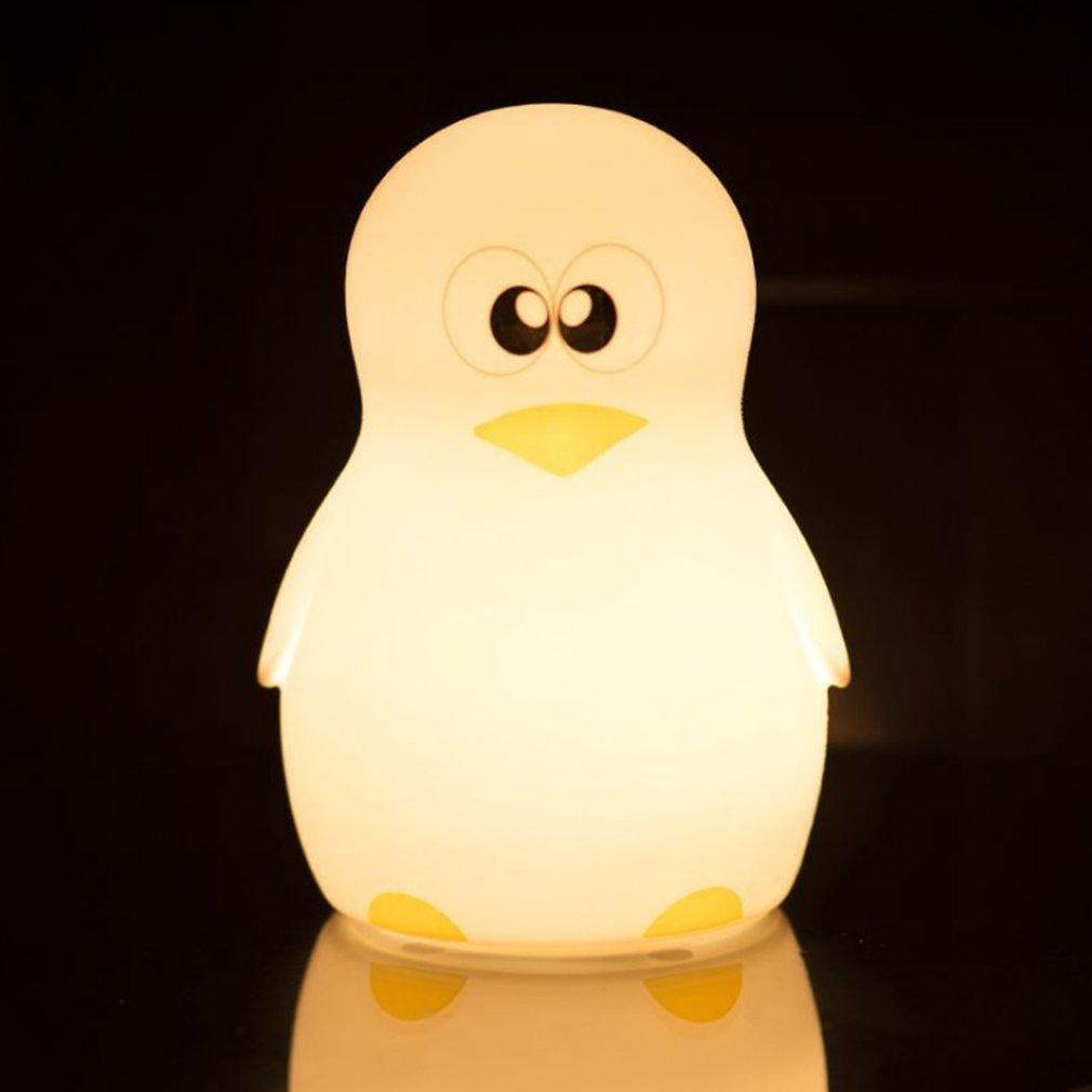 Cute Penguin Night Light Adjustable Colorful LED Desktop Light Silicone USB Charging Lamp Touch Control Atmosphere Lamp