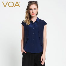 VOA Silk Blouse 2017 Short Sleeved Summer New Solid Dark Blue Bag Sleeve Cylinder Simple Silk Shirt B5977
