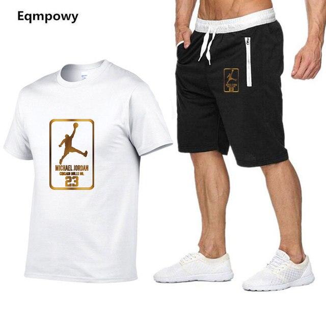 Thời Trang mới phù hợp với áo nam Hai Mảnh ngắn thun + quần short thoáng mát mùa hè Áo Nỉ Phù Hợp Với Nam chandal Hombre chạy bộ homme Phù Hợp Với