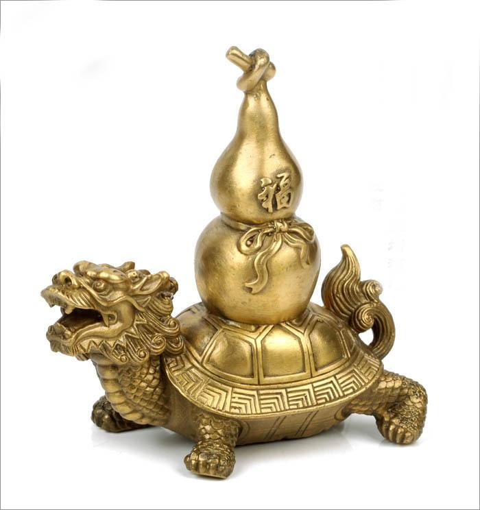 La gourde de mascotte de dragon en cuivre la gourde de dos de tortue de dragon défend les ornements de bronze maléfiques